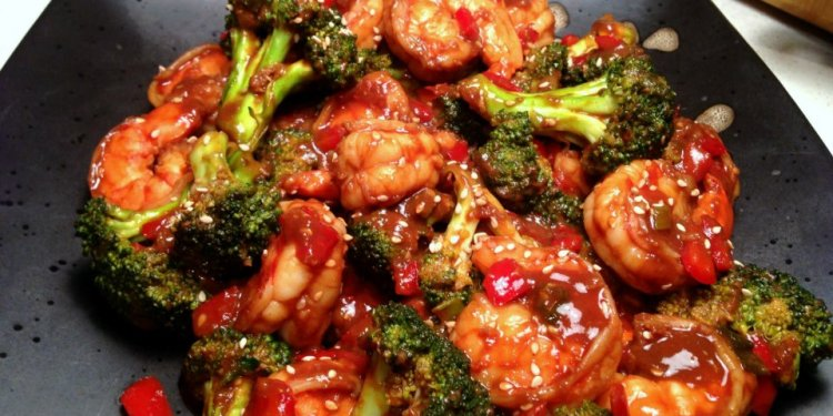 Shrimp & Broccoli in Black