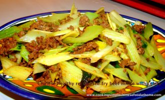 how to stir fry beef mince with celery with simple Chinese recipe