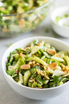 I never thought my kids would eat bok choy, but they are obsessed with this salad! It's one of my most popular recipes at potlucks and literally tastes like Chinese takeout in salad form.