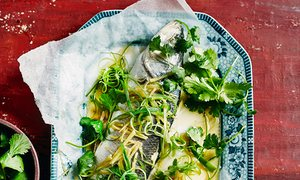 Ken Hom's steamed fish Cantonese style.