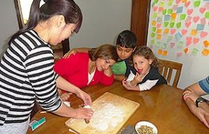 Our Guests Learn to Make Dumplings